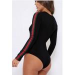 Black | Red Green Stripe On Arms Scoop Neck Bodysuit
