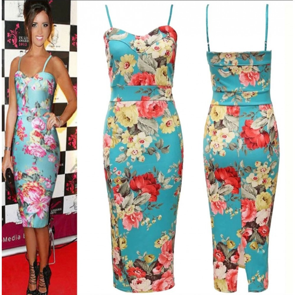 Celebrity | Inspired Floral Strappy Bodycon Midi Dress Plus Size