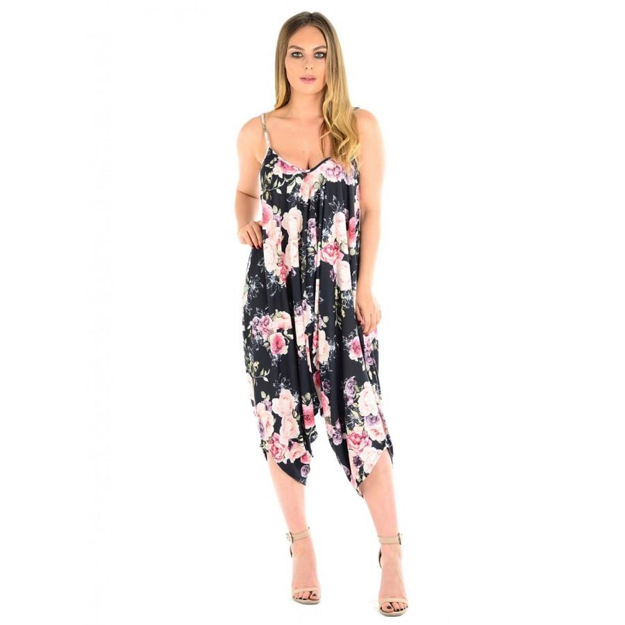 Rose Flower Print Cami Lagenlook Romper Baggy Harem Jumpsuit