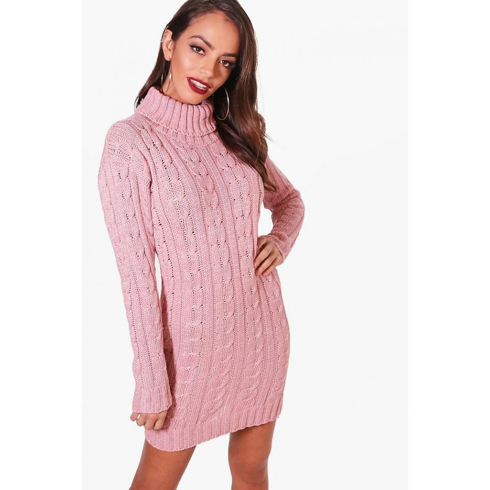 Womens Ladies Cable Knit Polo Roll Neck Long Sleeve Bodycon Jumper Winter Dress