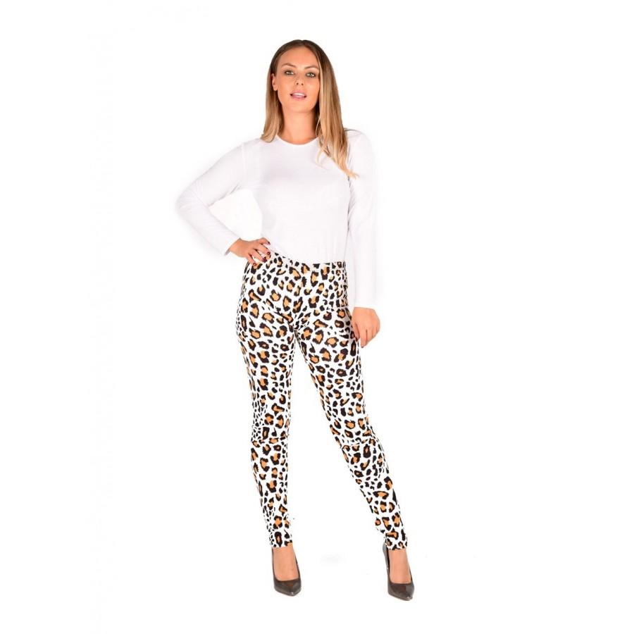 Cream Leopard Print Legging