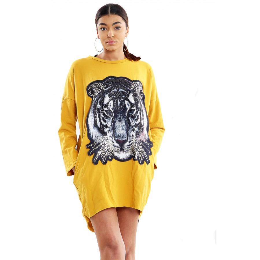 Mustard Sequin Tiger Print High Low Dip Baggy Top