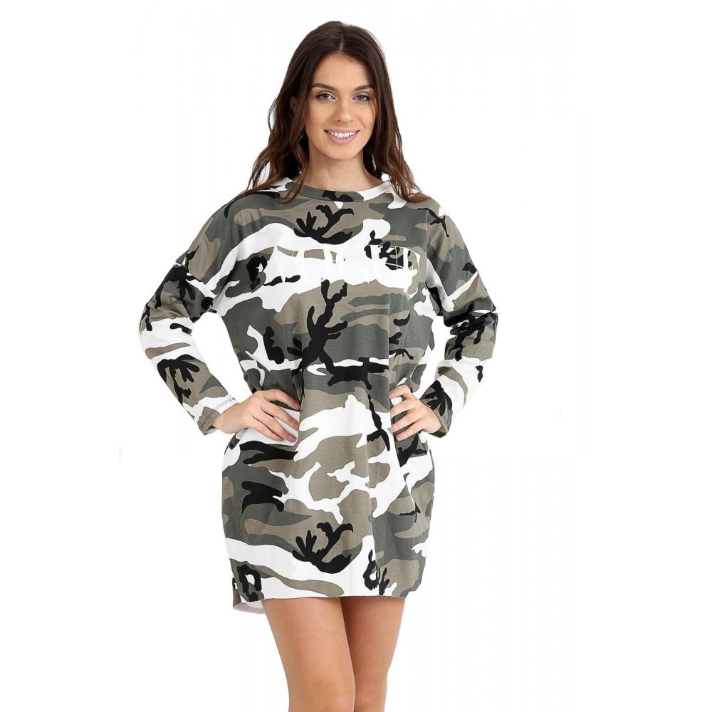 Ladies Womens Fashion Camouflage Print Vogue Long T-Shirt Top Dress Baggy Camo
