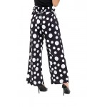 Black Dot Print Wide Leg Palazzo Trousers
