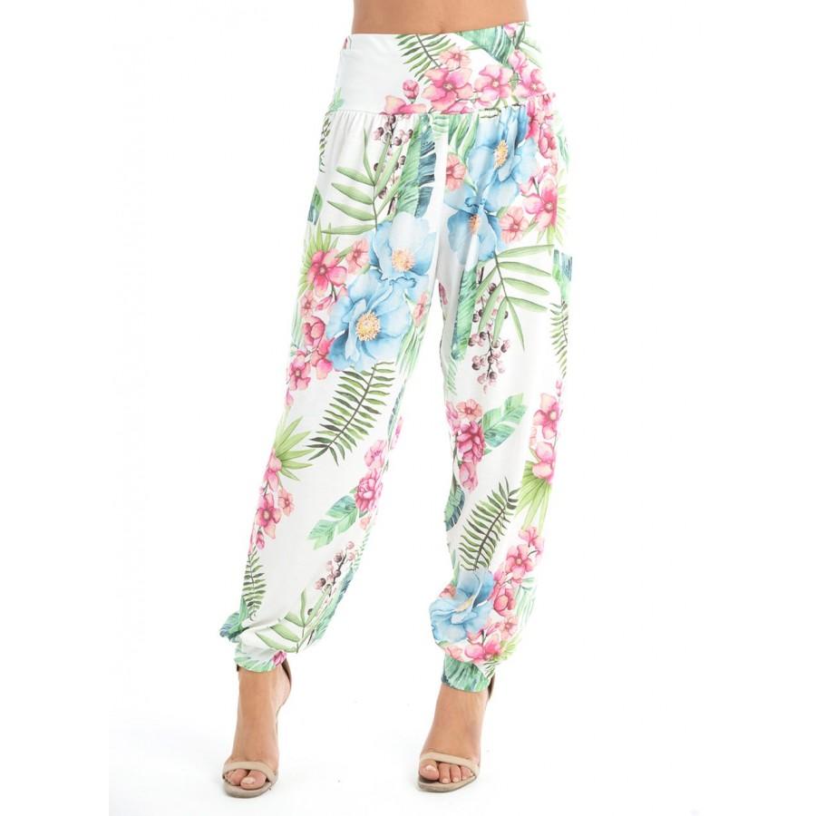 Green Leaf Print Harem Alibaba Pants Trousers