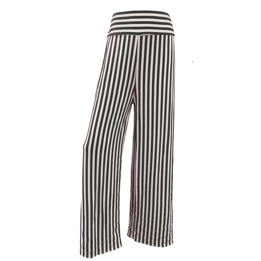 Black Stripes Print Wide Leg Palazzo Trousers