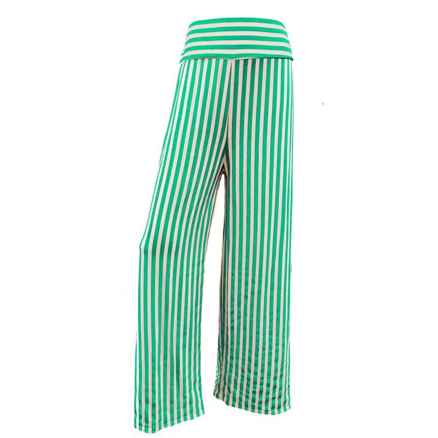 Green Stripes Print Wide Leg Palazzo Trousers