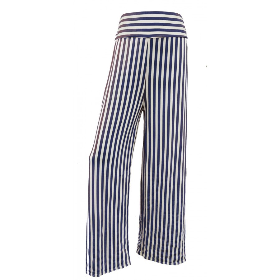 Navy Stripes Print Wide Leg Palazzo Trousers
