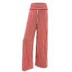 Red Stripes Print Wide Leg Palazzo Trousers